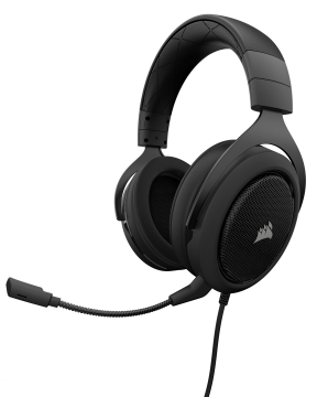 Слушалки с микрофон Corsair Gaming HS50 STEREO Gaming Headset, Carbon, 50mm neodymium speaker drivers, mute control (EU Version)