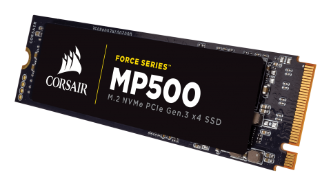 SSD Corsair Force MP500 series NVMe (PCIe Slot) M.2 2280 SSD 480GB; Up to 3,000MB/s Sequential Read, Up to 2,400MB/s Sequential Write; Up to 250K IOPS Random Read, Up to 210K IOPS Random Write, Compatible with Lenovo Legion Y520/Y720/Y920