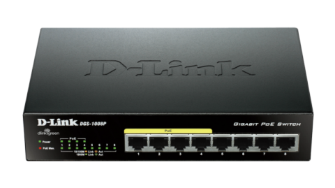 Switch D-Link DGS-1008P/E 8-port 10/100/1000 Desktop Switch w/ 4 PoE Ports