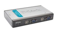 KVM Превключвател D-Link DKVM-4U 4-Port Video+USB Switch, With 2 KVM cables 4 портов