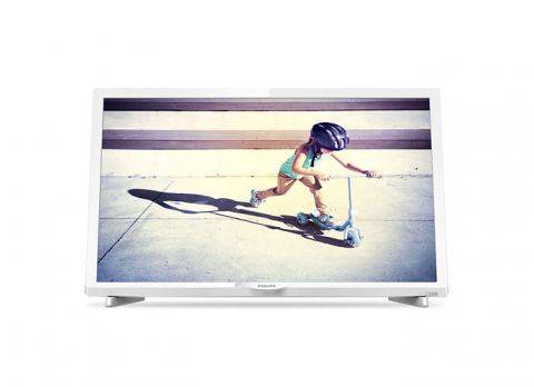 "Philips 24"" FHD TV New model 2017, DVB T2/C/S2, Digital cristal clear, 200 PPI, White, 16W"