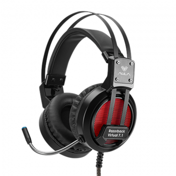 Слушалки AULA A5 Razorback Gaming Headset с микрофон, Over-ear 50 mm Driver diameter, closed back, Virtual 7.1 Sound, Cushions coating, Headband: auto-adjustable; Volume control, USB, Black