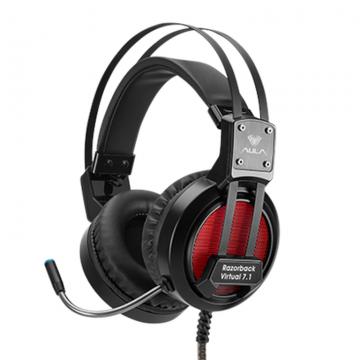 Слушалки AULA A5 Razorback Gaming Headset с микрофон, Over-ear 50 mm Driver diameter, closed back, Virtual 7.1 Sound, Cushions coating, Headband: auto-adjustable; Volume control, USB, Black