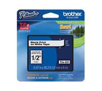 TZ Tape BROTHER 12mm Black on White, Laminated, 8m lenght, for P-Touch