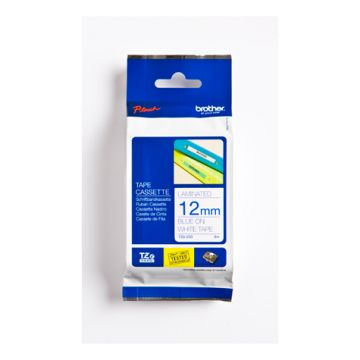 TZ Tape BROTHER 12mm Blue on White, Laminated, 8m lenght, for P-Touch