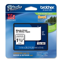 TZ Tape BROTHER 36mm Black on White, Laminated, 8m lenght, for P-Touch