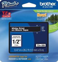 TZ Tape BROTHER 12mm White on Black, Laminated, 8m lenght, for P-Touch