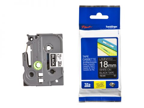 Tape BROTHER TZ, Laminated, 18mm WHITE ON BLACK, 8m lenght, for P-Touch
