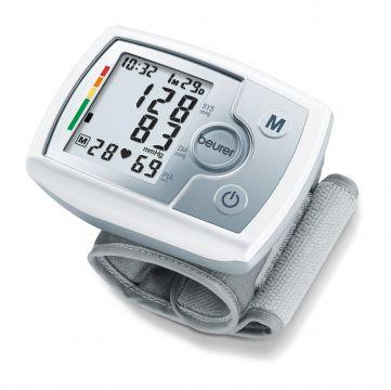 Beurer Апарат за измерване на кръвно налягане за китка (14-19.5см), цветна индикация за рискови стойности, индикатор при аритмия, индикатор за състоянието на батерията, цвят бял