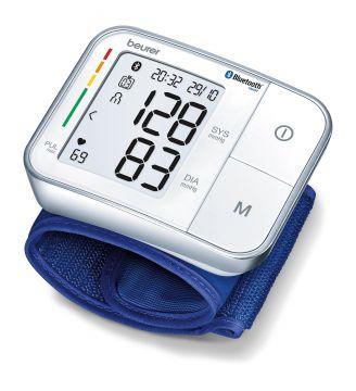 Beurer Апарат за измерване на кръвно налягане за китка (14-19.5см), Bluetooth®, показва средна стойност на измерванията през последните 7 дни, цветна индикация за рискови стойности, индикатор при аритмия, Beurer HealthManager, цвят бял