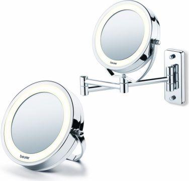 Beurer Козметично огледало 2в1 (статично и с възможност за закачане на стена), 2 огледала (нормално и с 5 степенно увеличение), 8 LED диода, диаметър 11см