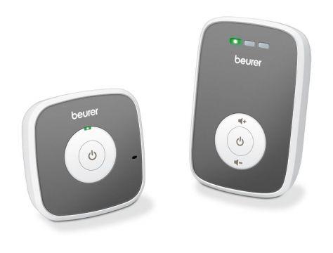 Beurer Бебефон, Чист и ясен дигитален звук, ECO+ mode - за ниска консумация на енергия, Честота на излъчване -1,8 Ghz, обхват - 300м, звуков сигнал когато устройството е извън обхват, LED светодиодни сигнали при шум, 5 нива на силата на звука, 120 различн