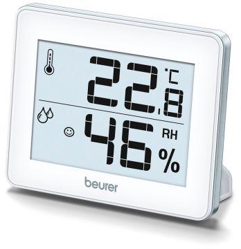Beurer Термо-хигрометър за стая, измерва температура и влажност, индикация за качеството на температурата и влажността в помещението, възможност за закачане на стена