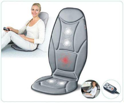 Beurer масажираща калъфка за стол, вибриращ масаж, адаптер за кола,  функция за загряване, 3 различни области на масаж, 2 степени, дистанционно управление