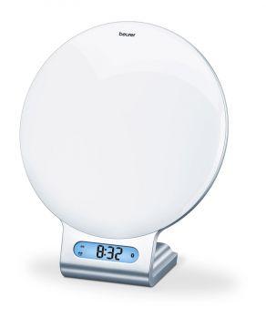 Beurer Светлина за събуждане (Wake up Light),  Bluetooth®, Beurer LightUp App, симулира светлината при залез и изгрев, мелодии за заспиване и събуждане, възможност за избор на индивидуален цвят на светлината от 256 нюанса, часовник, аларма, FM радио, инте