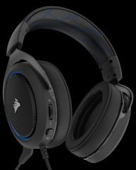 Слушалки с микрофон Corsair Gaming HS50 STEREO Gaming Headset, Blue, 50mm neodymium speaker drivers, mute control (EU Version)