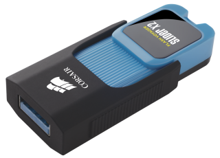 Флаш памет Corsair Voyager Slider X2 USB 3.0 32GB, Blue Housing, Read 200MBs - Write 90MBs, Capless Design, Plug and Play