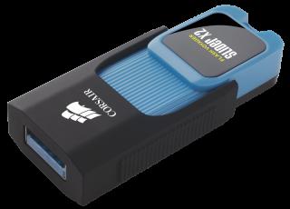 Флаш памет Corsair Voyager Slider X2 USB 3.0 32GB, Blue Housing, Read 200MBs - Write 90MBs, Capless Design, Plug and Play