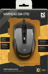 Defender Gaming мишка Warhead GM-1710 optical, 6 buttons, 1200/1600/2400/3200 dpi, 30 IPS, 125 Hz, жична