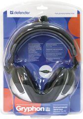 Defender Стерео слушалки с микрофон Gryphon HN-868, Дължина на кабела: 3м; 2 x 3.5мм конектор, сиво + черно