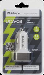 Defender Адаптер за кола UCA-03, 3 x USB, 5V / 4A  ( 2A+1A+1A), бял
