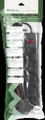 Defender Протектор със защита ES largo 5, 5.0m, 5 outlets, black