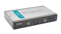 KVM Превключвател D-Link DKVM-4U 4-Port Video+USB Switch, With 2 KVM cables 4 портов