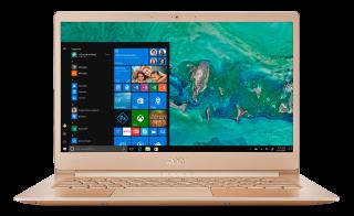 "NEW! NB Acer Swift 5 SF514-52T-86QV/GOLD/14.0"" IPS Full HD 1920x1080 (Multi-Touch) Corning® Gorilla® Glass/Intel® Core™ i7-8550U/1x8GB DDRIII/256GB PCI-E SSD/Intel HD Graphics 620/Keyboard backlight/Finger Print/Windows 10/ Мetallic body (Anodizing)/ GOLD"