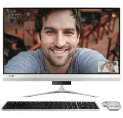"Lenovo IdeaCentre AIO 520s 23"" IPS FullHD Touch i3-7100U 2.4GHz, GT930A 2GB, 8GB DDR4, 1TB 2.5"", ext. DVD, WiFi, BT, FullHD cam, Silver, Win 10 + Wireless silver keyboard and silver mouse"