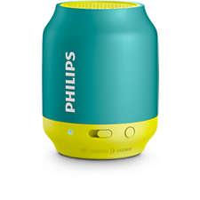 Philips Bluetooth безжична портативна колонка, акумулаторна батерия 2 W, цвят: жълт/зелен