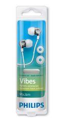 Philips слушалки с микрофон за поставяне в ушите, бял цвят