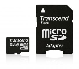 Памет Transcend 8GB MicroSDHC CARD (Class10) with adapter, read-write: up to 20MBs, 17MBs