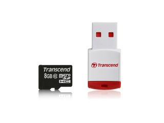 Памет Transcend 8GB microSDHC10 (with reader - Class 10), read-write: up to 20MBs, 17MBs