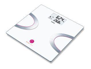 Beurer Електронна, диагностична везна за баня, Bluetooth®, Измерване на телесното тегло, телесни мазнини, вода, мускулна и костна маса, AMR/BMR и BMI, Beurer Health Manager App, Beurer BodyShape App, 5 нива на активност, запаметяване на 8 потребителя