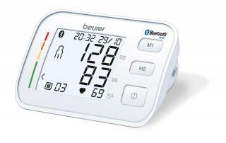 Beurer Апарат за измерване на кръвно налягане с маншон (23-43см), Bluetooth®, XL дисплей, показва средна стойност на измерванията за последните 7 дни, цветна индикация за рискови стойности, функция за индикация на високо кръвно налягане или аритмия, цвят