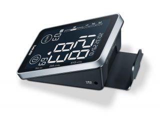 Beurer Апарат за измерване на кръвно налягане с маншон (22-30 см), USB, голям дисплей, индикатор за аритмия, показване на средни стойности измерени през последните 7 дни, сензорни бутони, HealthManager App, цвят черен