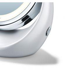 Beurer Козметично огледало, 2 огледала (нормално и с 5 степенно увеличение), 12 LED диода, диаметър 11см, цвят - матирано бяло