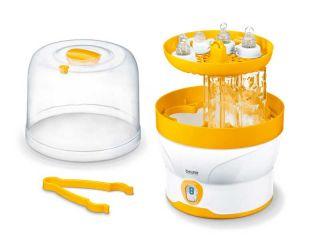 Beurer Стерилизатор за бебешки бутилки, LED дисплей, за до 6 шишета и аксесоари, цикъл на стерилизация - 7 мин., авт.изключване, съдържанието остава стерилно до 3 часа, ако уредът не се отваря.