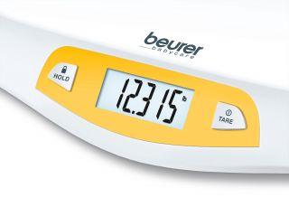 Beurer Бебешка електронна везна - Автоматично изключване, гумени крачета, LCD дисплей, максимално тегло 20кг, лесна за почистване повърхност, цвят бял