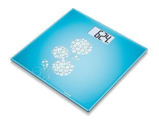 Beurer Електронна стъклена везна за баня, LCD дисплей, индикатор за претоварване,цвят светло син