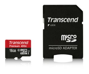 Памет Transcend 16GB MicroSDHC Class10 U1 with adapter, read: up to 60MBs, 400x