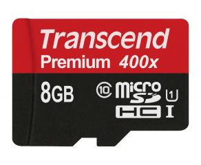 Памет Transcend 8GB microSDXC/SDHC Class 10 UHS-I 400x (Premium) no Adapter, read: up to 60MBs, 400x